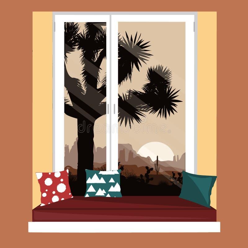 在窗口基石的沙发与山离开看法 与约书亚树和山的早晨风景 库存例证