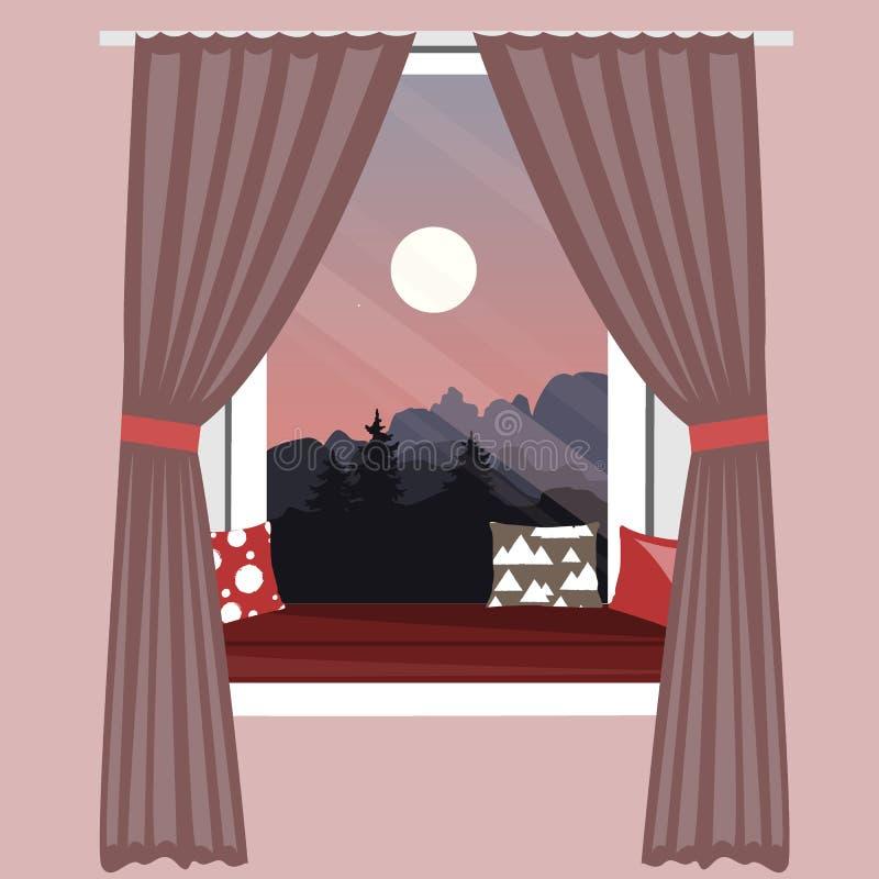 在窗口基石的沙发 与美丽的山的靠窗座位使看法环境美化 手拉的传染媒介例证 皇族释放例证