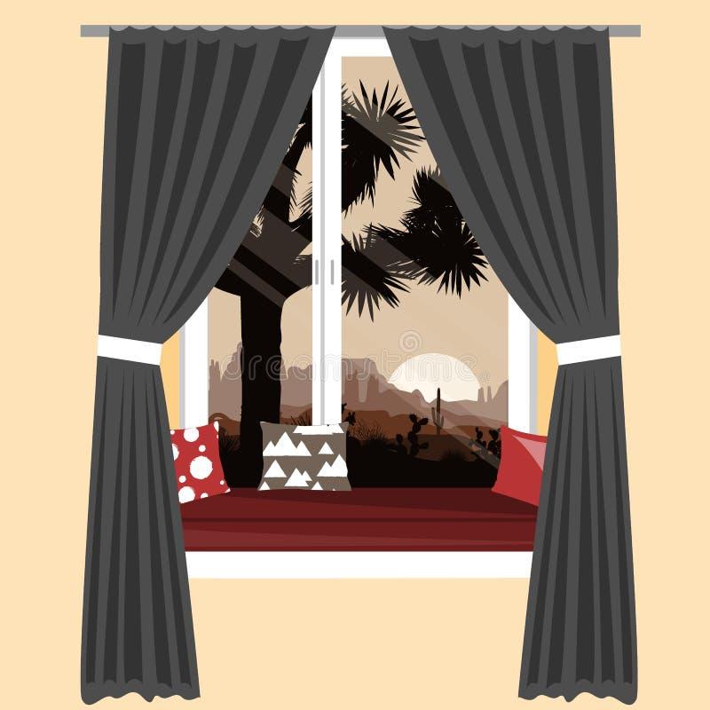 在窗口基石的舒适沙发与美丽的山离开看法 传染媒介例证,室内设计元素 向量例证