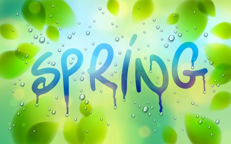 在窗口得出的春天词、新鲜的绿色叶子和水雨下落或者凝析油宏指令,传染媒介3d现实透明 皇族释放例证
