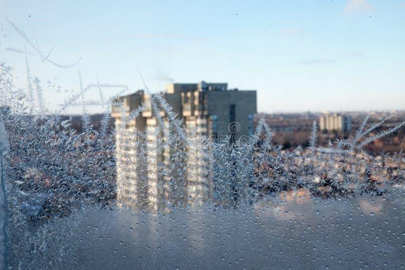 在窗口的冰柱 库存图片