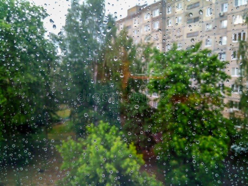 在窗口的小雨珠 库存照片