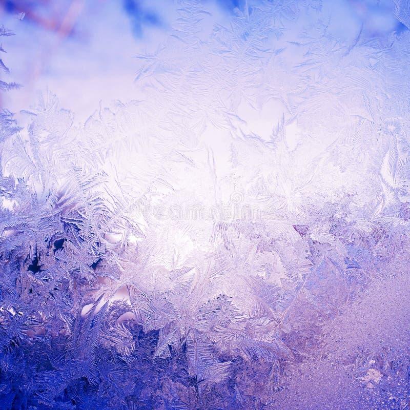 在窗口的雪样式 库存图片