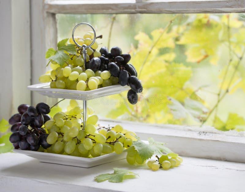 在窗台的葡萄 免版税库存照片