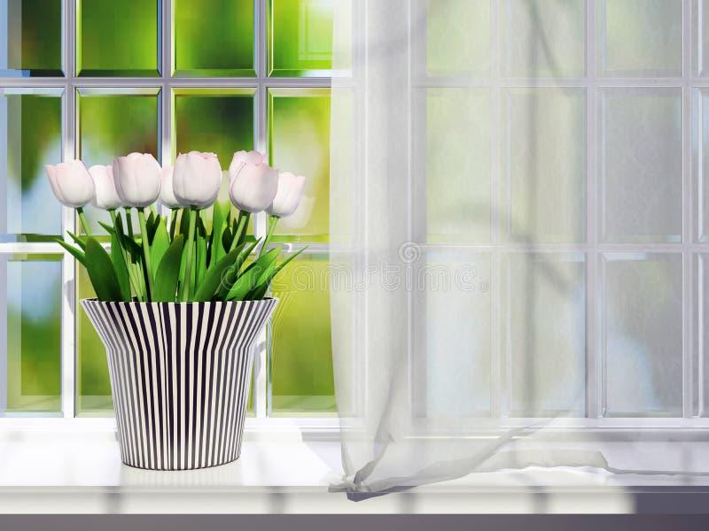 在窗台的郁金香 图库摄影