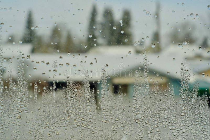 在窗玻璃的雨珠 免版税库存图片