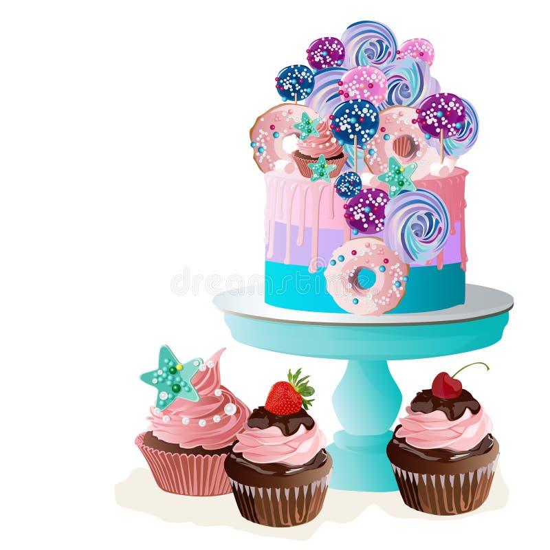 在立场的蛋糕 也corel凹道例证向量 皇族释放例证