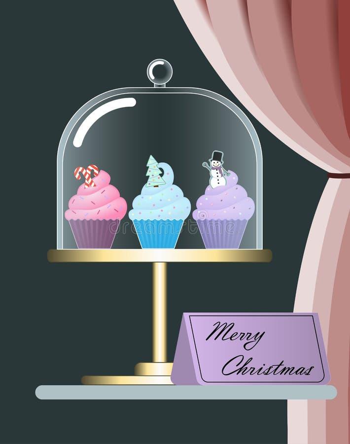 在立场的逗人喜爱的五颜六色的圣诞节杯形蛋糕 图库摄影