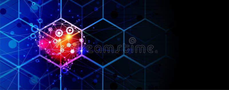 在立方体的人工智能脑子 技术网背景 真正浓缩 向量例证
