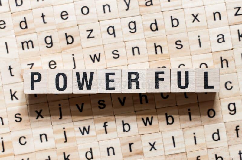 在立方体的强有力的词概念 库存图片
