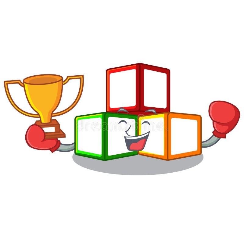 在立方体箱子吉祥人的把装箱的优胜者玩具块 库存例证