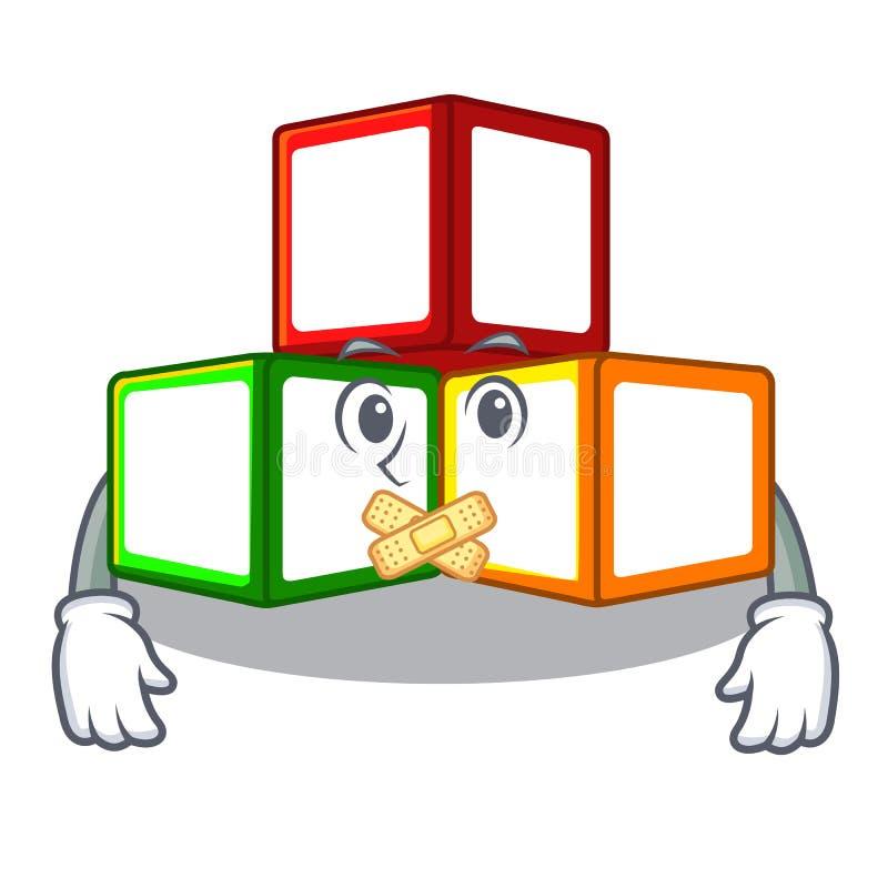 在立方体箱子吉祥人的沈默玩具块 向量例证