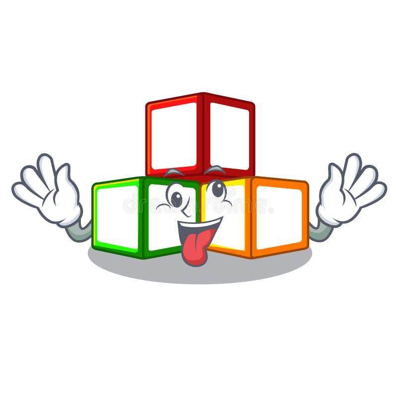 在立方体箱子吉祥人的疯狂的玩具块 库存例证