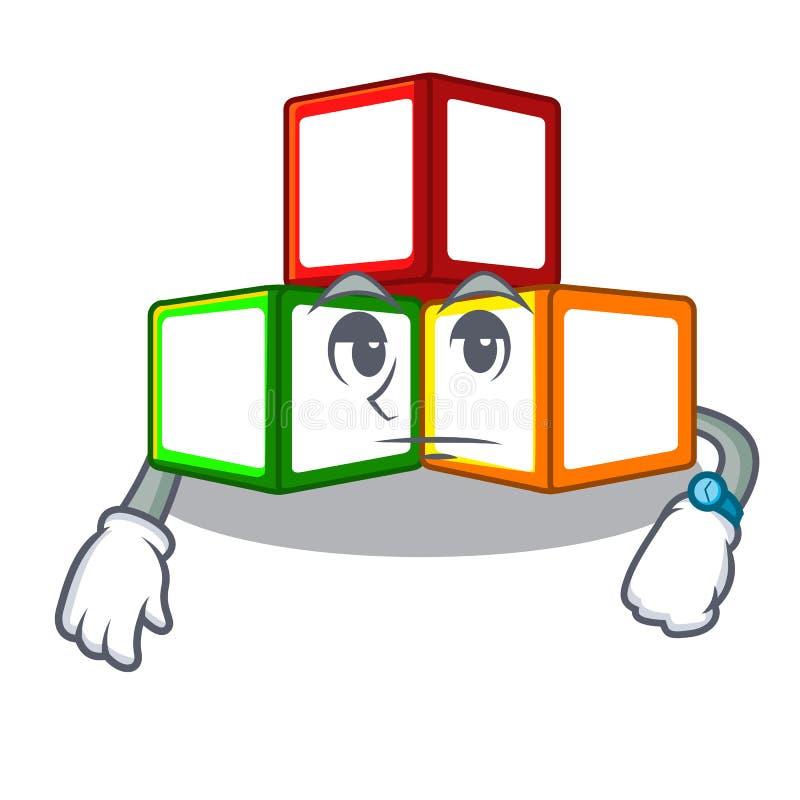 在立方体箱子吉祥人的等待的玩具块 向量例证