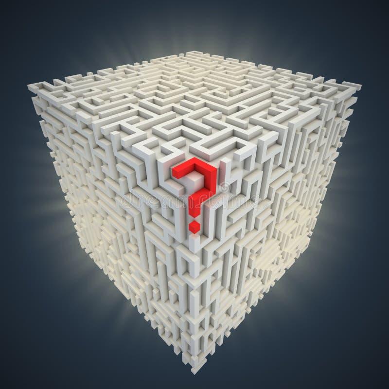 在立方体迷宫里面的问号 皇族释放例证