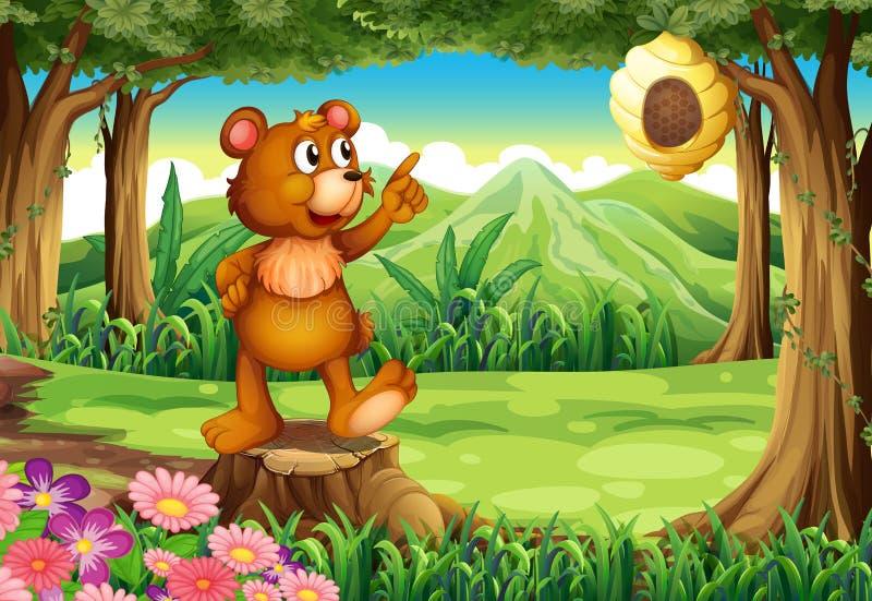 在站立在树桩上的森林的一头熊在蜂箱附近 向量例证