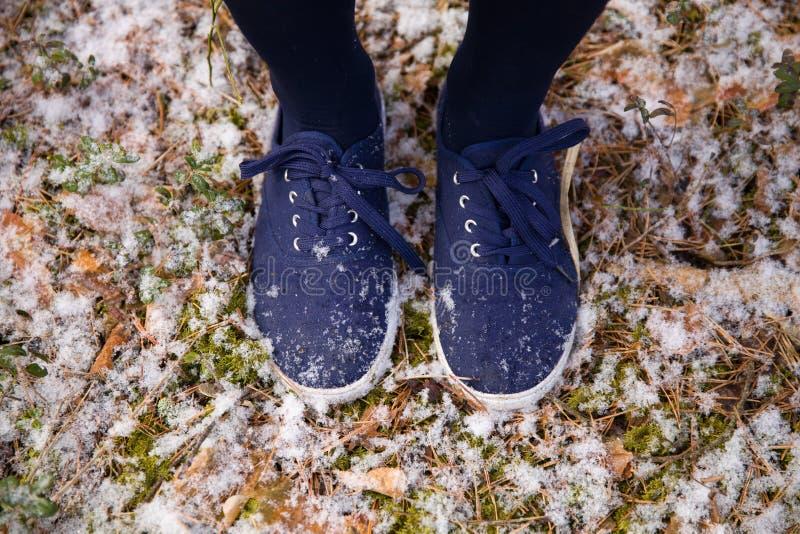 在站立在森林第一雪的地面的蓝色运动鞋的脚在公园 免版税库存照片