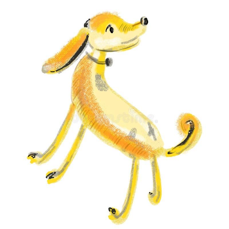 在站立的姿势的逗人喜爱的狗卡通人物 看可爱的宠物某处 与橙色皮肤,灰色,交通事故多发地段的黄色小狗 库存例证