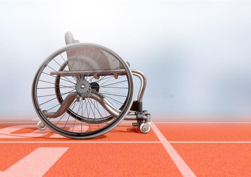 在竞技轨道的体育轮椅 向量例证