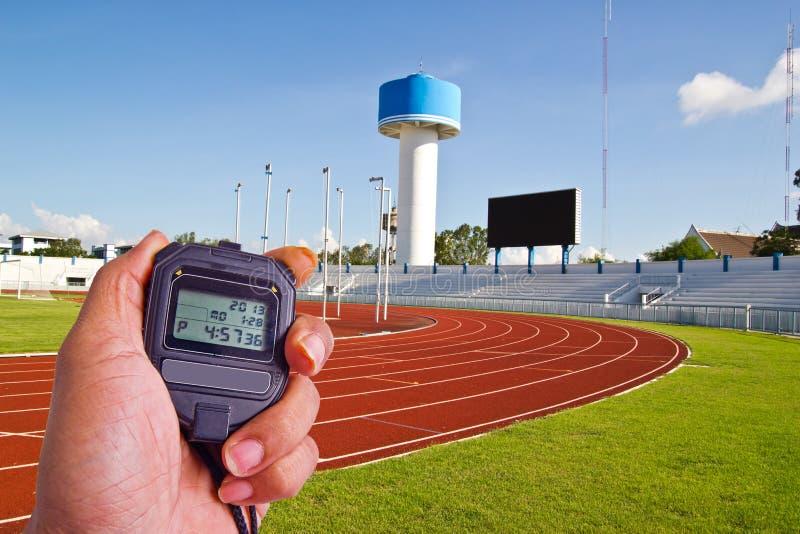 在竞技领域的秒表 免版税库存照片