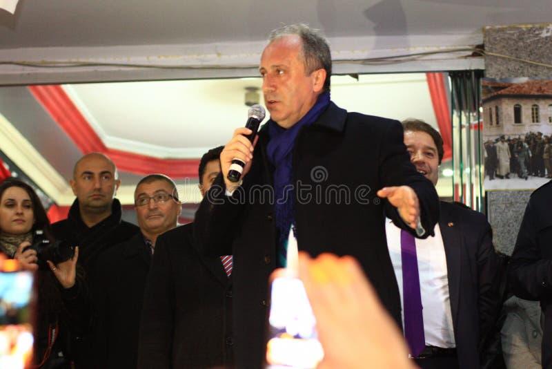 在竞选集会期间的Muharrem Ince在Maltepe 免版税库存图片