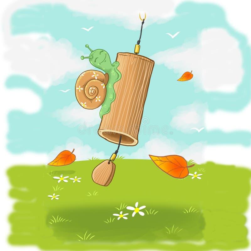 在竹响铃的友好的敏感蜗牛 向量例证