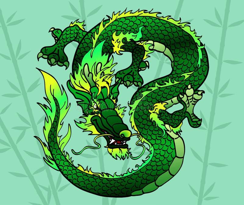 在竹子的狡猾绿色亚洲龙 库存例证