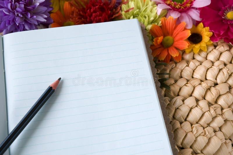 在笔记本上把放的铅笔 库存图片