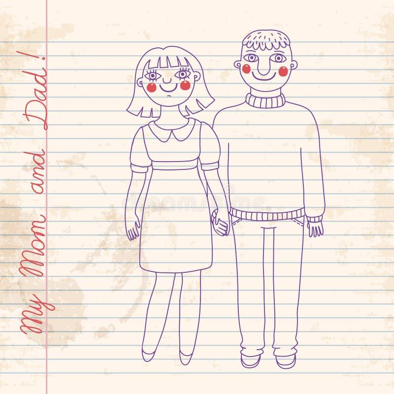 画在笔记本妈妈和爸爸。 向量例证