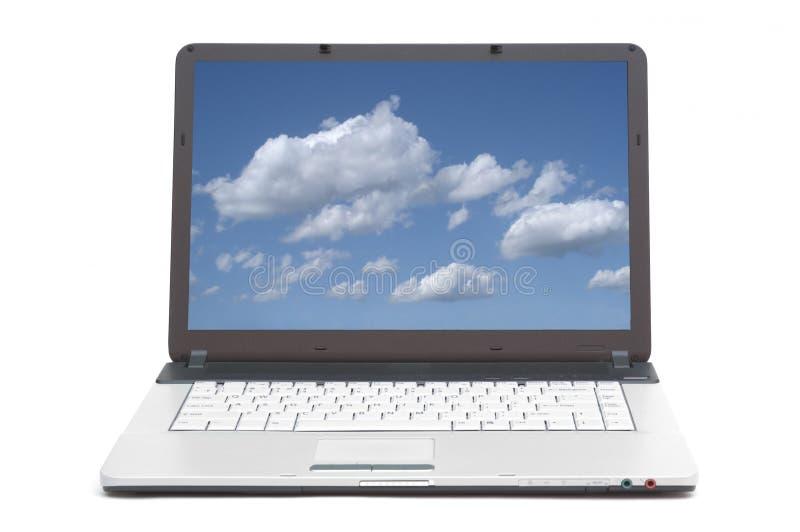 在笔记本屏幕的天空  图库摄影
