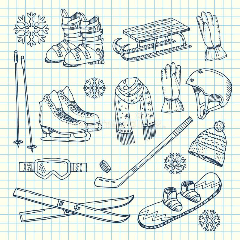 在笔记本的传染媒介手拉的冬季体育设备 皇族释放例证