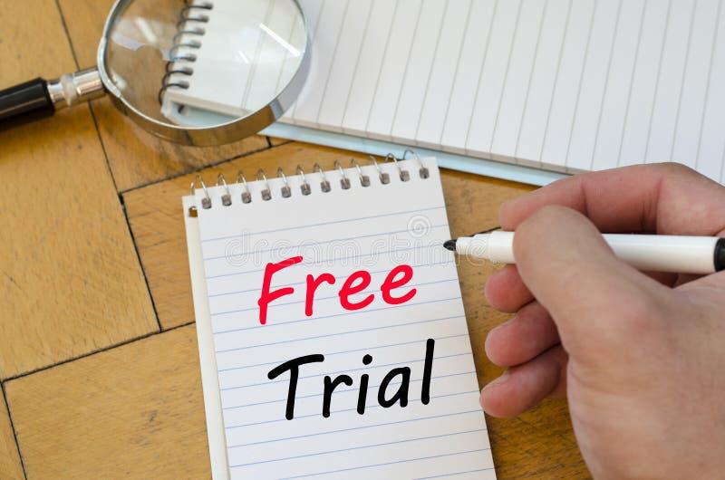 在笔记本的免费试用概念 免版税库存图片