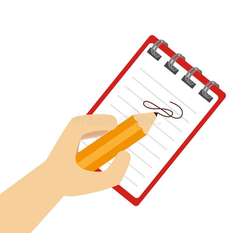 在笔记本的手文字有螺旋的 库存例证
