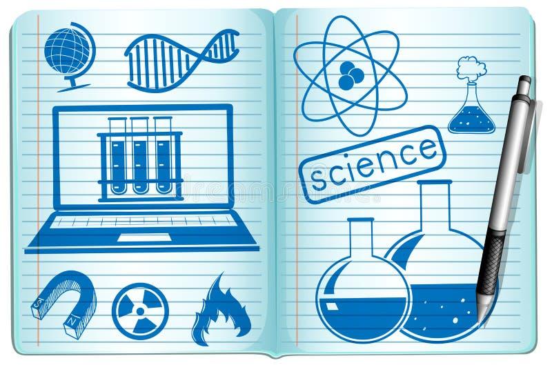 在笔记本的科学标志 库存例证