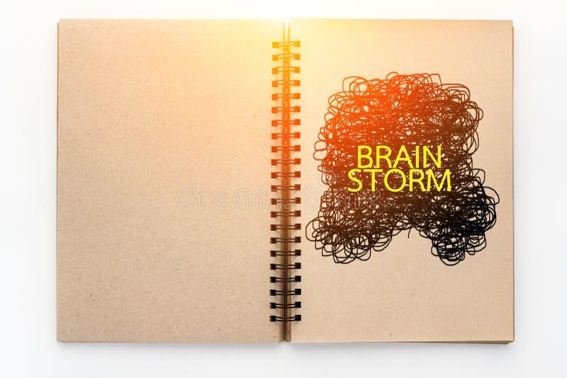 在笔记本的突发的灵感词 图库摄影