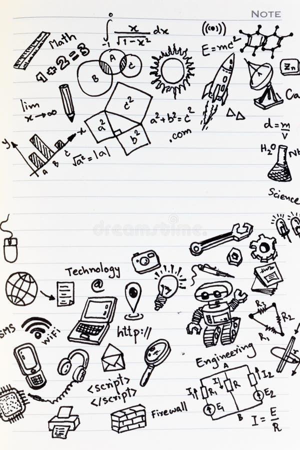 在笔记本的算术惯例有拷贝空间的 学习回到学校的算术 库存照片