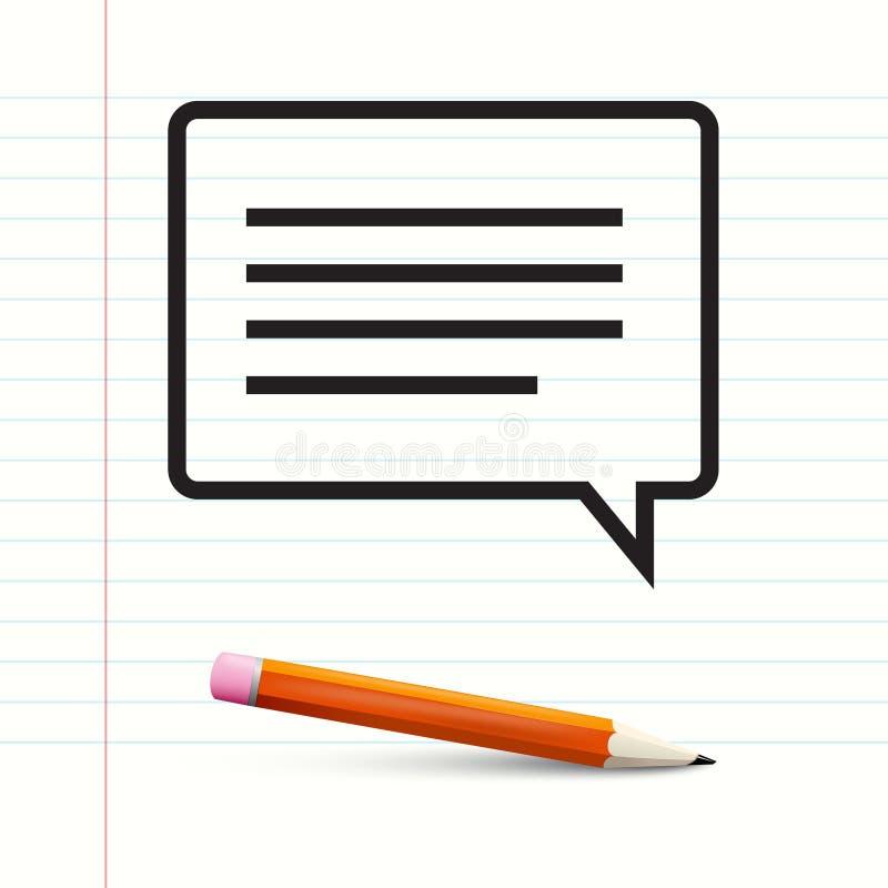在笔记本纸的短信与铅笔 向量例证