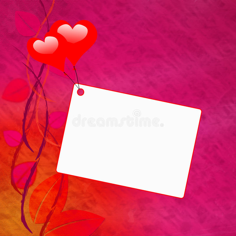 在笔记的心脏气球显示爱消息或 库存例证