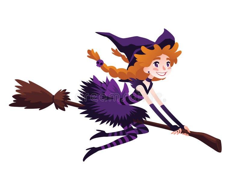 在笤帚和微笑的逗人喜爱的红头发人巫婆飞行 库存例证