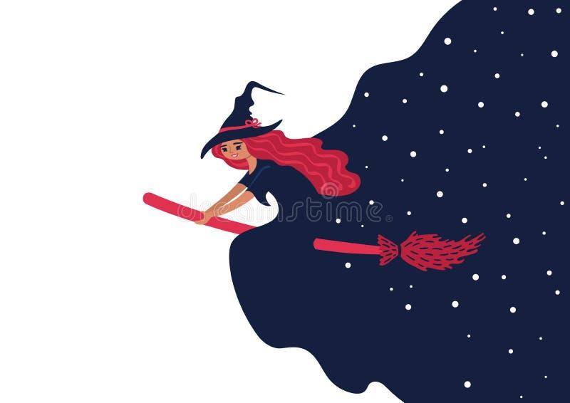 在笤帚的一次美好的巫婆飞行和做繁星之夜 向量例证