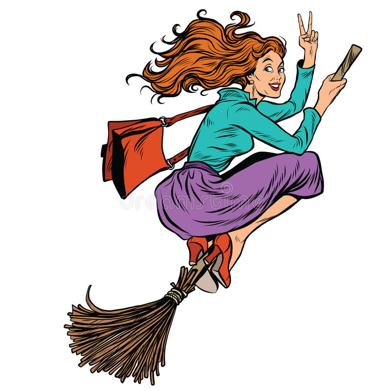 在笤帚的美好的妇女巫婆飞行 向量例证