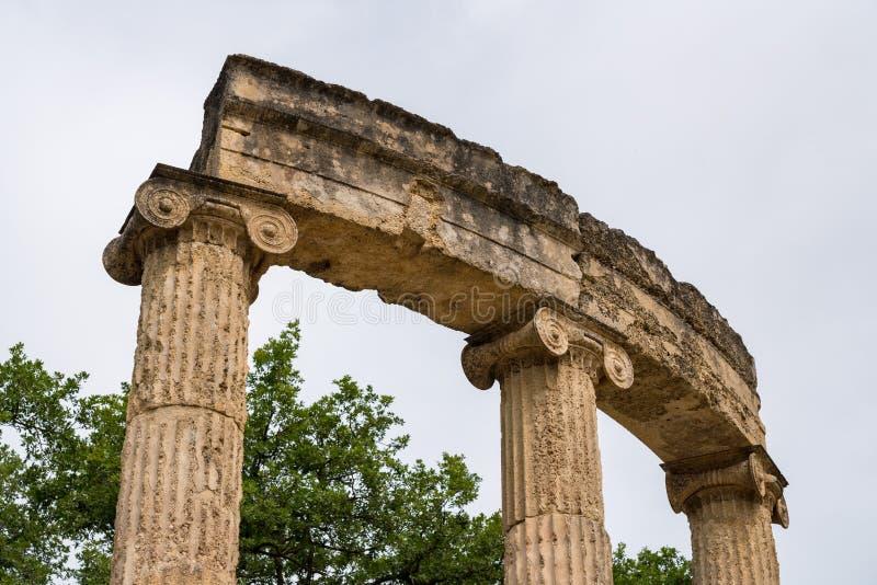 在第一奥林匹克的站点的Palaistra在奥林匹亚的在希腊 图库摄影