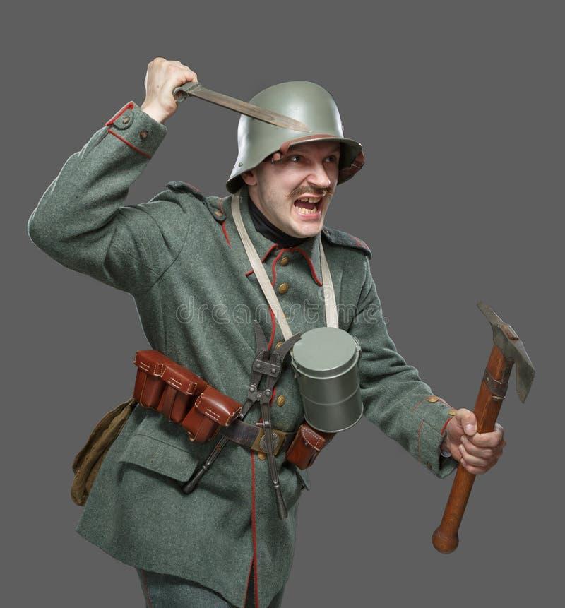 在第一次世界大战期间的德国步兵。 免版税图库摄影