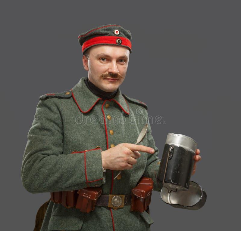 在第一次世界大战期间的德国步兵。 免版税库存照片
