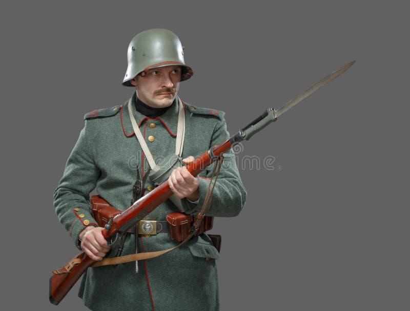 在第一次世界大战期间的德国步兵。 免版税库存图片