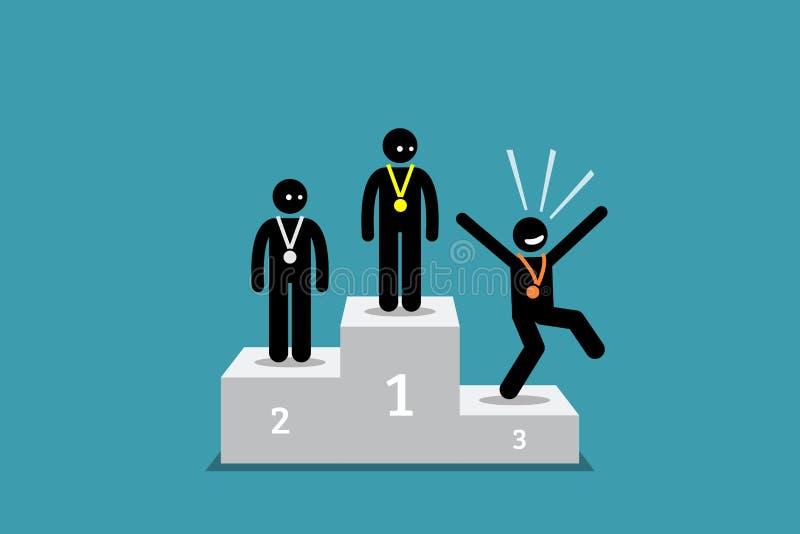 在第三名的棍子形象人比人民愉快在第一和第二个地方 向量例证