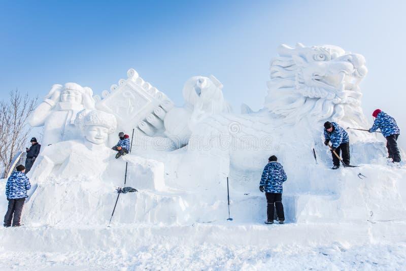 在第27个哈尔滨冰和雪节日的雪雕在哈尔滨中国 免版税库存图片