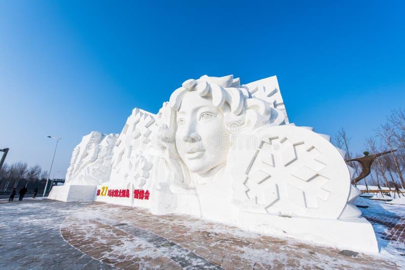 在第27个哈尔滨冰和雪节日的雪雕在哈尔滨中国 库存图片