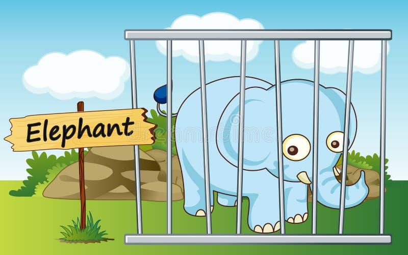 在笼子的大象 皇族释放例证