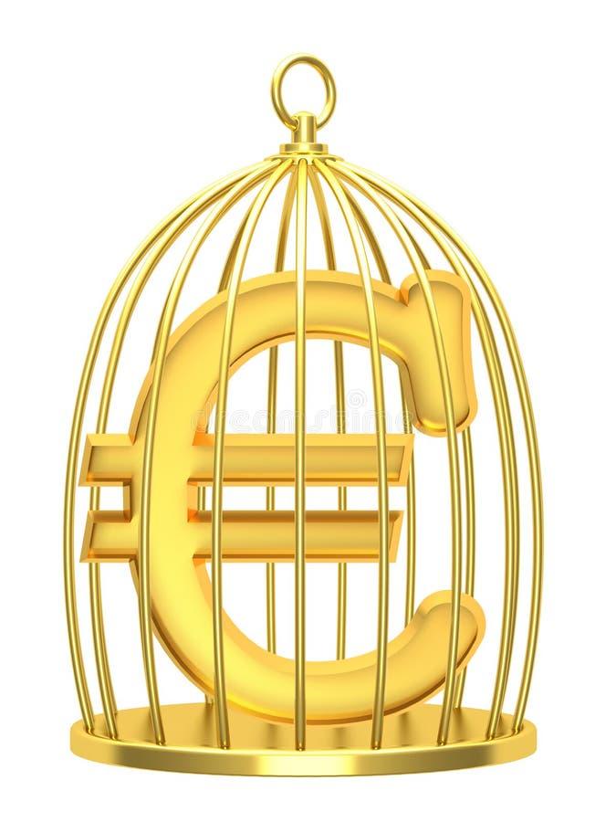 在笼子的标志欧元 库存图片